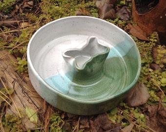 Green and white blocker dog food bowl, green, white, bone, dog bowl, blocker bowl, ceramic, pottery, handthrown