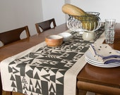 Vienna Triangles Hand Printed Table Runner in Charcoal Grey - Geometric Modern Table Runner