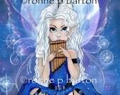 Moon Song big eye cute cartoon fairy fantasy fine art 5X7 PRINT by Ronne P Barton