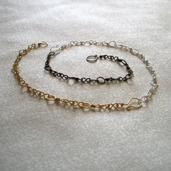 Extender Bracelet Necklace, Silver Brass Antique Brass, Ready to Ship