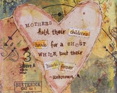 Mother's Hold Hands 4x4 Mixed Media Art Print