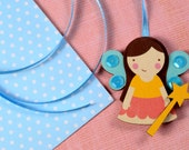 Mintapalinta POP Fairy Necklace, Kids' Jewelry, Unique Designed Girls' Jewelry, Wooden Fairy Pendant, Free Shipping