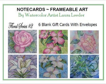 Art Notecards 6 Blank of Floral Series 2, Party Favors