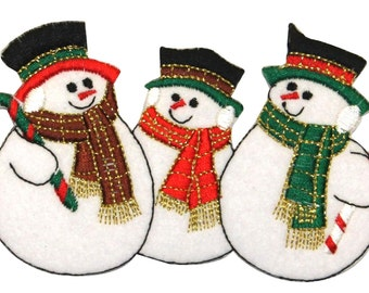 ID #8003 Snowman Row Christmas Winter Snowmen Embroidered Iron On Applique Patch