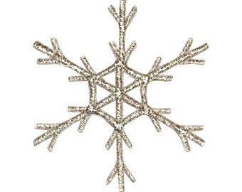 ID #8108 Snowflake Winter Season Ice Holiday Embroidered Iron On Applique Patch