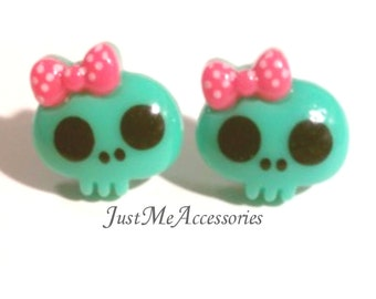 Cute Kawaii, Turquoise Skull with Pink Bow Post Earrings