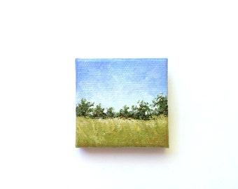 "Miniature Landscape - 2""x2"" Acrylic Painting"