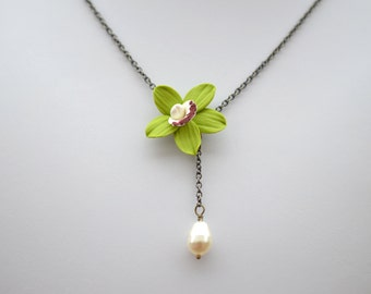Green Cymbidium Orchid and Pearl Necklace, Orchid Necklace, Green Orchid Necklace, Cymbidium Orchid Jewelry