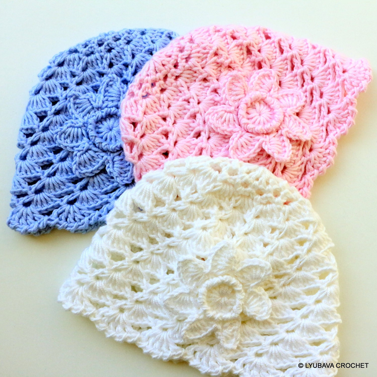 Crochet Patterns Infant Hats : CROCHET PATTERN Baby Hat Crochet Flower Hat Diy by LyubavaCrochet