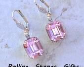 12x10mm Light Rose Swarovski Octagon Lever back Rhinestone Earrings-Light Pink Crystal Dangle Rhinestone Earrings-