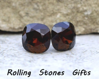 10mm Mocca Swarovski Rounded Corner Square Rhinestone Stud Earrings-Mocca Crystal Studs- Mocca (Dark Brown) Square Stud Earrings