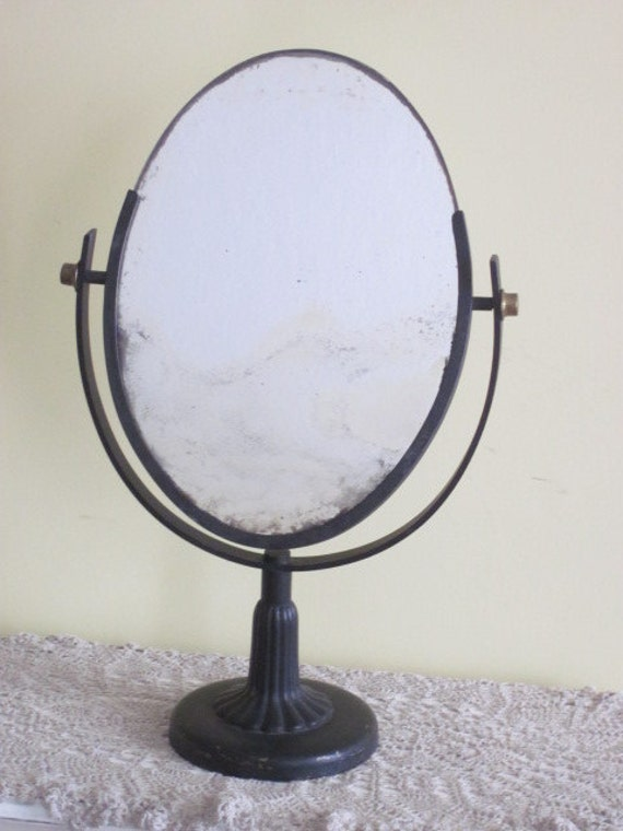 Antique Black Iron Oval Tilt Mirror By Whitefarmhouse On Etsy