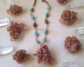 ARAGONITE - Electroformed Copper necklace with genuine turquoise