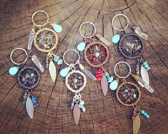 OOAK Custom DREAMCATCHER Keychain - Made to order - Handmade with Gemstones - Feathers - Quartz Crystal - Wire wrapped