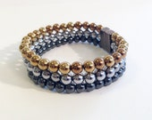 Triple stranded magnetic hematite bracelet - layered bracelet - precious metals color palette - custom sized