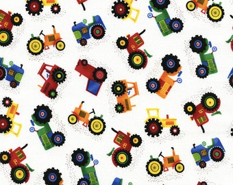 Mini Tractor by Gail Cadden, Tractor , 1 Yard Cut, Timeless Treasures - Tractor Fabric - cotton fabric