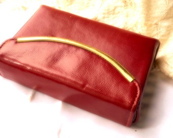 Vintage Leather red small clutch purse