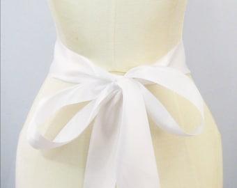 White Ribbon Sash - choice of 2.25 or 1.5 inch width x 144 inches/4 yard length -Wedding Sash, Bridal Sash, Plain Sash, White Sash, DIY Belt