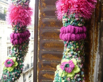 Handmade crochet Christmas faery socks boots slippers psychedelic flower green pink red warm wearable art flexible materials OOAK