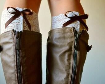 Lace Bow boot cuffs - Ivory Peek a Bow Back Lace Boot Cuffs - Ivory floral boot cuff accessories