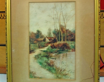All Original Watercolor Landscape  with Old Frame and GlassCottage Gate Pond Path Dock Signed Copied by BML