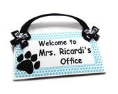 bear paws theme personalized teacher door sign class decor - white and blue dots - P2003