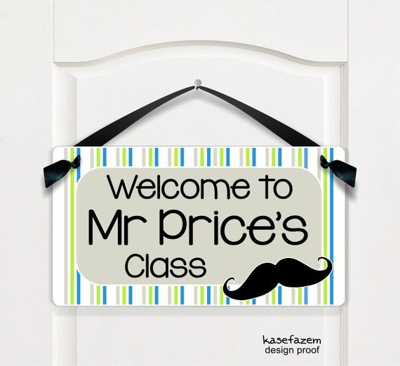 Male Classroom Decor ~ Personalized male teacher name classroom door sign by
