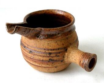 Vintage Tue Poulsen Denmark Studio Pottery Side Handled Pitcher Sauce Vessel Server Danish Modern Artist Signed