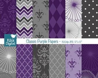 Classic Purple Digital Papers, Purple Papers - scrapbook, card design, invitations, stickers, paper crafts, web design - INSTANT DOWNLOAD