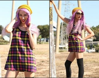 Vintage 80s plaid school girl mini dress top tunic mod squad XS S