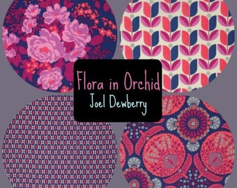 Joel Dewberry Fabric - 4 Fat Quarter Bundle FLORA in Orchid