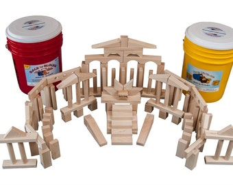Maple Children's Wooden Building Blocks.132 Blocks In A Bright Colored Storage Bucket. Free Shipping To U.S.