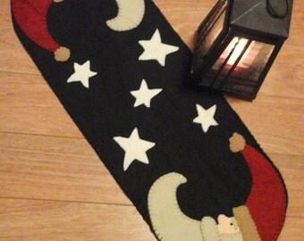 Handmade Santa runner wool and wool felt penny rug Christmas decor