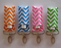 Sale- Chevron Chapstick Holder Keychains in Black, Gray, Green, Pink, Orange, Blue and Purple