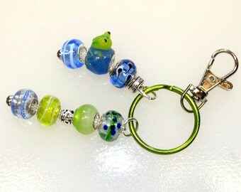 Bright Green Frog With Tadpoles Fun Beaded Key Ring