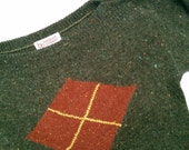 Vintage 70's Beldoch Popper Tweed Intarsia Argyle Bateau Sweater
