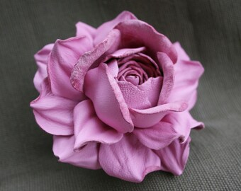 Pink Leather Rose Flower Brooch
