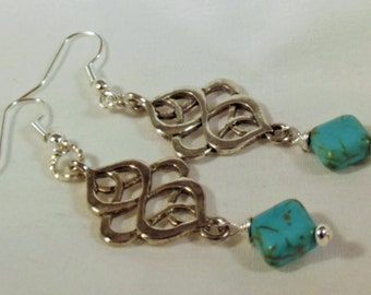 Earrings Handmade Turquoise Silver Hand Wire Wrapped Exotic Boho Chic Forest to Runway FREE customized Ear Wires