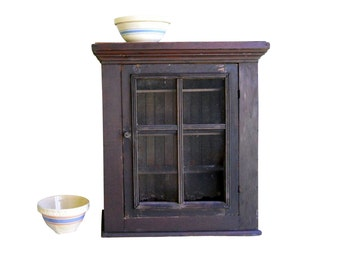 Vintage Rare Country Farmhouse Antique 1870s Wainscot Beadboard Fir Pine Counter Pie Safe Screen Rustic Cupboard Prairie Cottage Cabinet