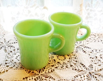 Beautiful Vintage Jadite Country French C Handled Jadeite 1940s Restaurant Ware Fire King Glass Coffee Tea Cup Mug Cottage Chic Pottery Mug