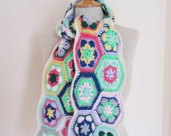 Crochet Scarf, Afgan Crochet Scarf, Colourful Scarf, Boho Style Scarf, UK Seller