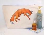Fox Leaping Canvas Wash Bag, Large Zipper Pouch, Makeup Bag, Toiletry Bag, Accessory Bag