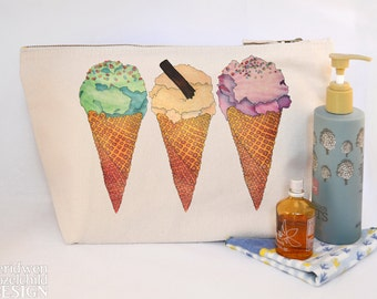 Ice Cream Canvas Wash Bag, Large Zipper Pouch, Makeup Bag, Toiletry Bag, Accessory Bag