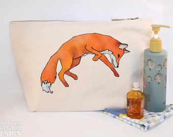Fox Leaping Canvas Wash Bag, Large Zipper Pouch, Makeup Bag, Toiletry Bag, Accessory Bag