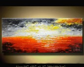 Abstract Wall Painting., Modern Landscape Painting ,Palette Knife painting  , Home Decor, Textured Painting on Canvas by Chen