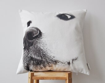 """ON SALE Monochrome Dog Pillow, Nursery Throw Pillow, Cushion Cover, Decorative Pillow Case, Kids Pillow Cover, Fathers Day 18""""x18"""""""