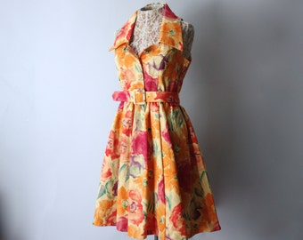 Laura Ashley Floral 50s Sundress with Belted Waist, Collar, and Full Skirt sz 8