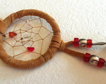 Authentic Native Made Leather Dream Catcher - Red Coral