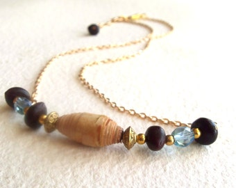 Rolled Birch Bark Necklace with Cawwa Natural Seed Beads, Blue/green Fire Polished Glass Beads and Crystal