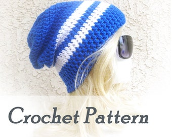 Instant Download Crochet Pattern Slouch Hat Pattern Beanie Hat Beginner Crocheted beanie Slouchy Beanie sports team colors tailgating hat
